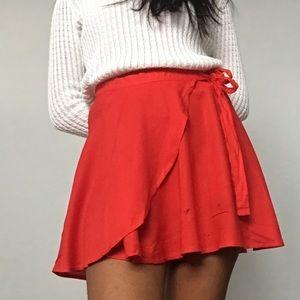 2/$25 F21 tomato red wrap a-line/skater mini skirt